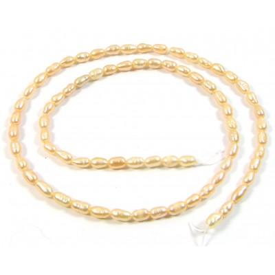 1 Strand Peach Rice Shape Freshwater Pearls