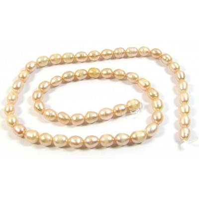 1 Strand Peach Rice Shape Freshwater Pearls