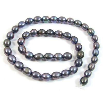 1 Strand Beautiful Purple Peacock Oval Freshwater Pearls