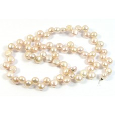 1 Strand Beautiful Peachy Top Drilled Button Freshwater Pearls