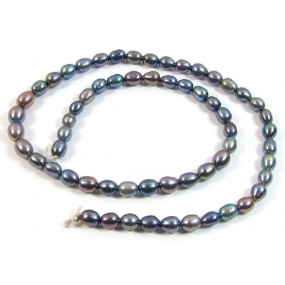 1 Strand Peacock Grey Rice Freshwater Pearls