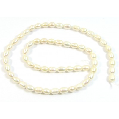 1 Strand 5mm Cream Rose Rice Freshwater Pearls