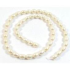 1 Strand  7mm Cream Rose Rice Freshwater Pearls