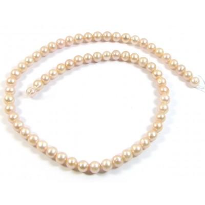 1 Strand Peachy Roundish 7mm Freshwater Pearls