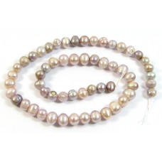 1 Strand Multi Shade Lilac Potato Shape Freshwater Pearls Approx. 7mm.