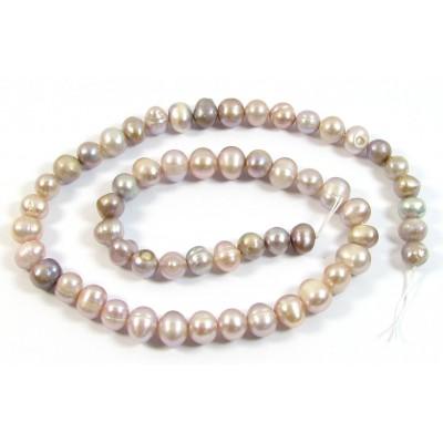 1 Strand Multi Shade Lilac Potato Shape Freshwater Pearls Approx. 7mm.
