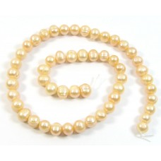 1 Strand Peach Potato Shape Freshwater Pearls approx. 8 mm.