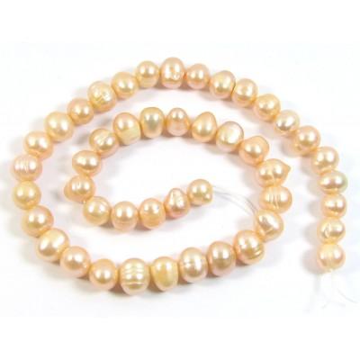 1 Strand Peach Potato Shape Freshwater Pearls approx. 7 mm.