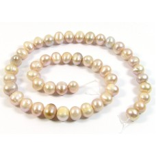 1 Strand Multi Pink Lilac Gold Potato Shape Freshwater Pearls Approx. 8mm.