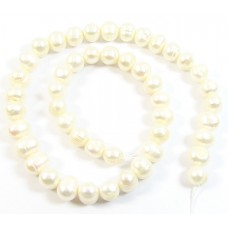 1 Strand Off White Potato Shape Freshwater Pearls Approx. 10mm.