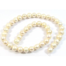 1 Strand Creamy Off White Almost Pale Peach 9mm Potato Shape Freshwater Pearls.