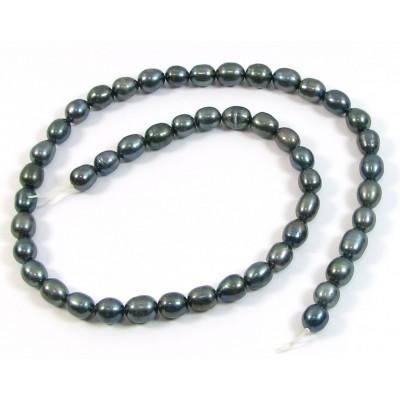 1 Strand Gunmetal Rice Shape Freshwater Pearls approx. 6mm.