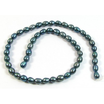 1 Strand Gunmetal Rice Shape Freshwater Pearls approx. 7mm.