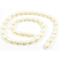 1 Strand Off White Rice Shape Freshwater Pearls Approx. 7mm.