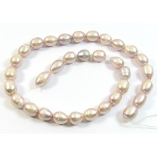 1 Strand Pale Pink Lilac Rice Shape Freshwater Pearls Approx. 10mm.