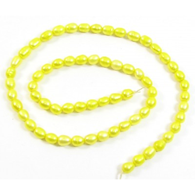 1 Strand Acid Yellow Rice Oval Shape Freshwater Pearls