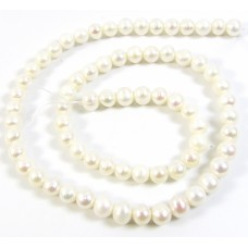 1 Strand Off White 5.5mm Round Freshwater Pearls