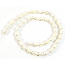 1 Strand Off White 6-7mm Oval Pearls