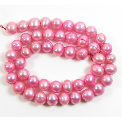 1 Strand Pink 9mm Oval Freshwater Pearls