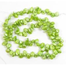 1 Strand Keishi Cornflake Green Freshwater Pearls