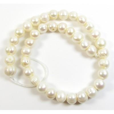 1 Strand White 11mm Roundish Large Hole Freshwater Pearls