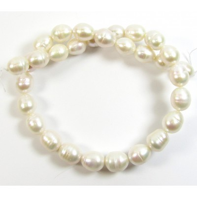 1 Strand White 14mm Oval Freshwater Pearls