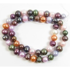 1 Strand Multicolour 9mm Oval Freshwater Pearls