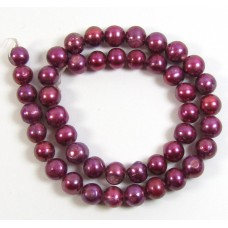 1 Strand Cranberry Red 10mm Roundish Freshwater Pearls