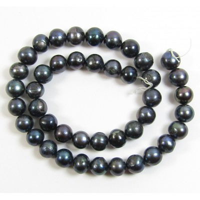 1 Strand Dark Grey 10mm Roundish Freshwater Pearls