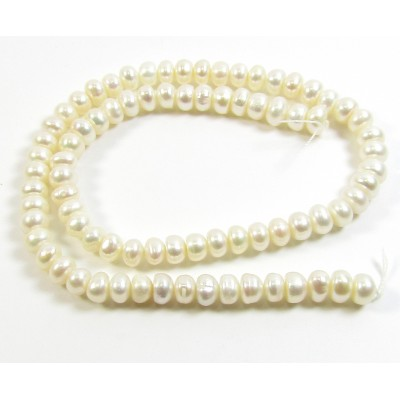 1 Strand Cream 7mm Button Oval Freshwater Pearls