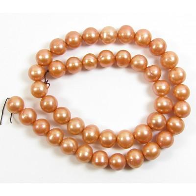 1 Strand Light Copper 9mm Roundish Freshwater Pearls