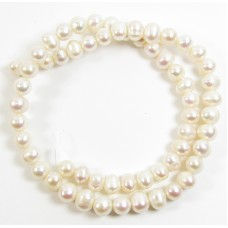 1 Strand White 8mm Oval Freshwater Pearls