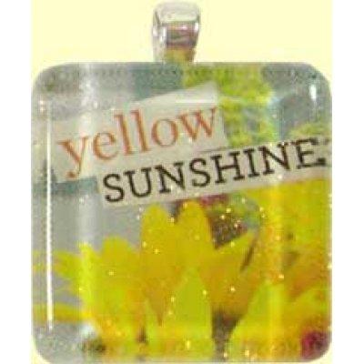 Handmade Glass Tile Pendant - Yellow Sunshine