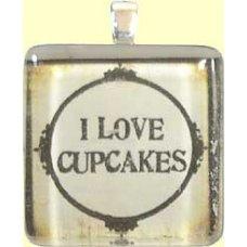 Handmade Glass Tile Pendant -  I Love Cupcakes