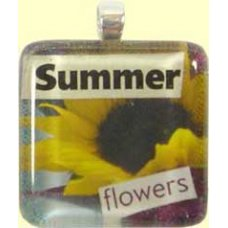 Handmade Glass Tile Pendant - Summer Flowers