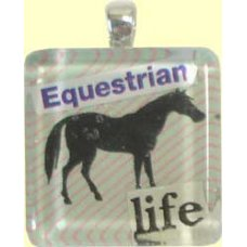 Handmade Glass Tile Pendant  - Equestrian Life