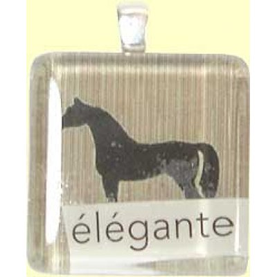 Handmade Glass Tile Pendant - Elegante