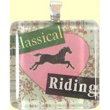 Handmade Glass Tile Pendant - Classical Riding