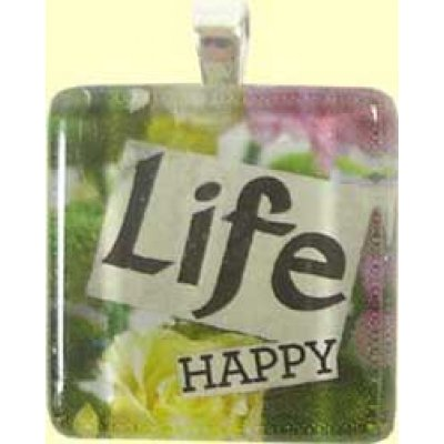 Handmade Glass Tile Pendant - Life Happy