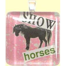 Handmade Glass Tile Pendant - Show Horses