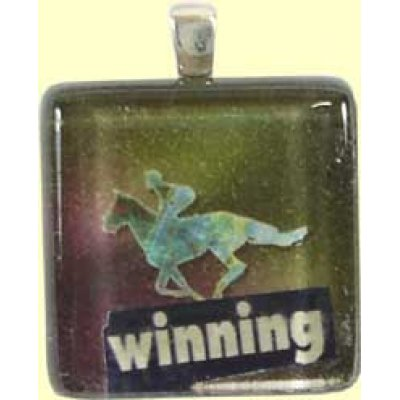 Handmade Glass Tile Pendant - Winning
