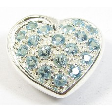 1 Sterling Silver and Blue Topaz Heart Slider Pendant