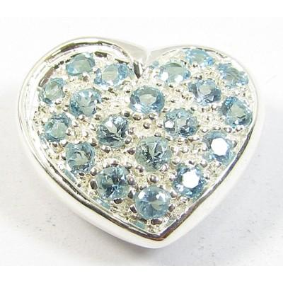 1 Sterling Silver and Blue Topaz Heart Slider Pendant