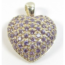 1 Sterling Silver and Lavender CZ Heart Pendant