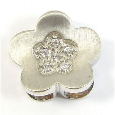 1 Sterling Silver and CZ Flower Slider Pendant
