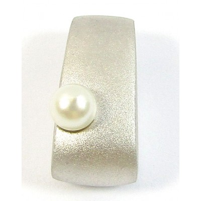 1 Sterling Silver and White Pearl Satin Slider Pendant