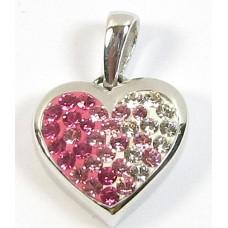 1 Sterling Silver Shades of Pink/ Crystal Swarovski Heart Pendant