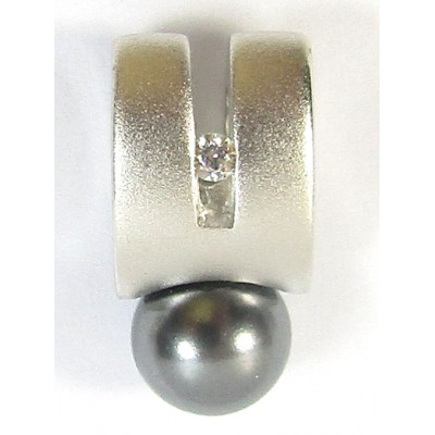 1 Sterling Silver and Black Pearl with CZ Satin Slider Pendant