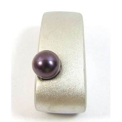 1 Sterling Silver and Black Pearl Satin Slider Pendant