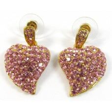 1 Pair Pink Swarovski Crystal Gold-Plated Heart Earrings